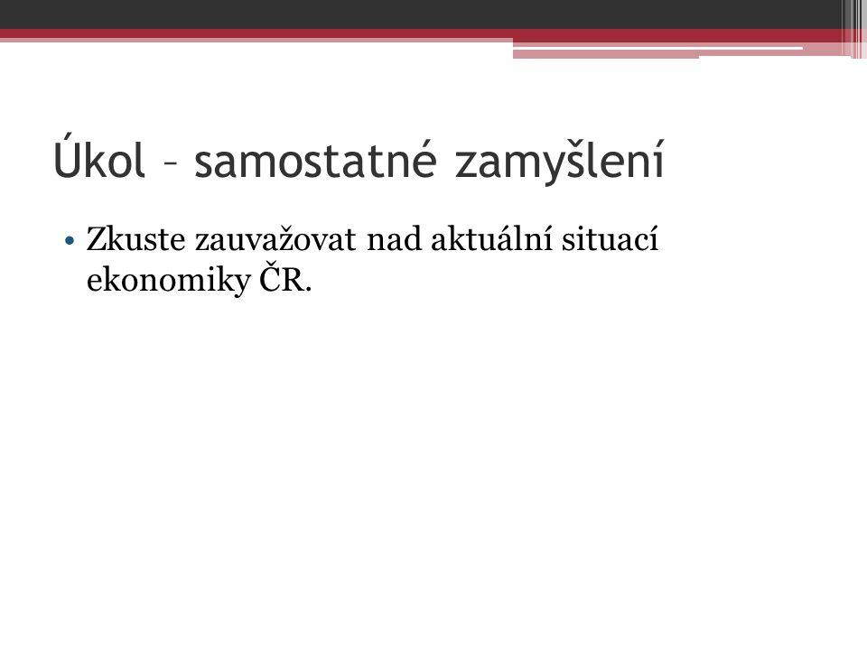 Úkol – samostatné zamyšlení Zkuste zauvažovat nad aktuální situací ekonomiky ČR.