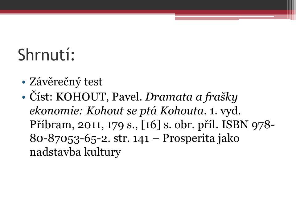 Shrnutí: Závěrečný test Číst: KOHOUT, Pavel.Dramata a frašky ekonomie: Kohout se ptá Kohouta.