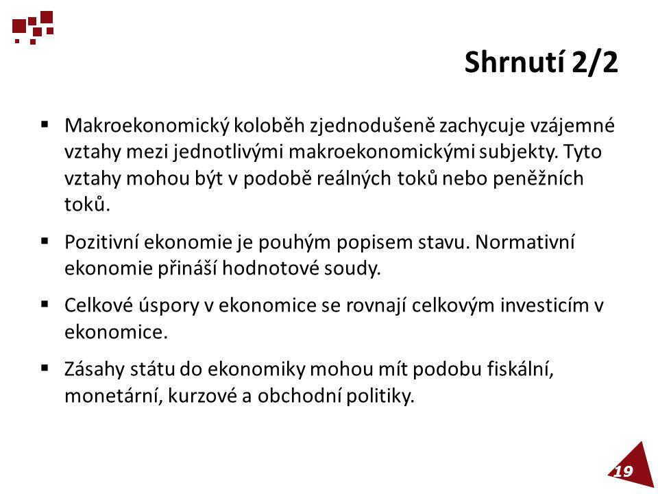 Shrnutí 2/2  Makroekonomický koloběh zjednodušeně zachycuje vzájemné vztahy mezi jednotlivými makroekonomickými subjekty. Tyto vztahy mohou být v pod