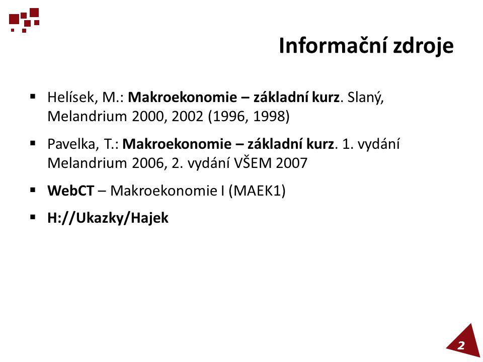 Informační zdroje  Helísek, M.: Makroekonomie – základní kurz. Slaný, Melandrium 2000, 2002 (1996, 1998)  Pavelka, T.: Makroekonomie – základní kurz