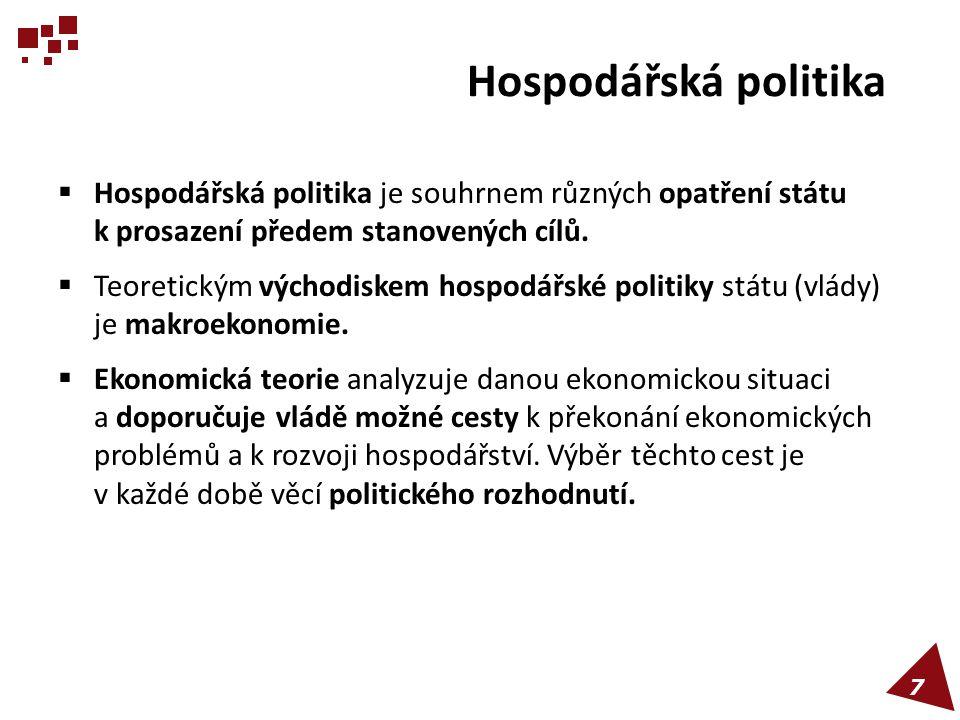 Hospodářská politika  Hospodářská politika je souhrnem různých opatření státu k prosazení předem stanovených cílů.  Teoretickým východiskem hospodář