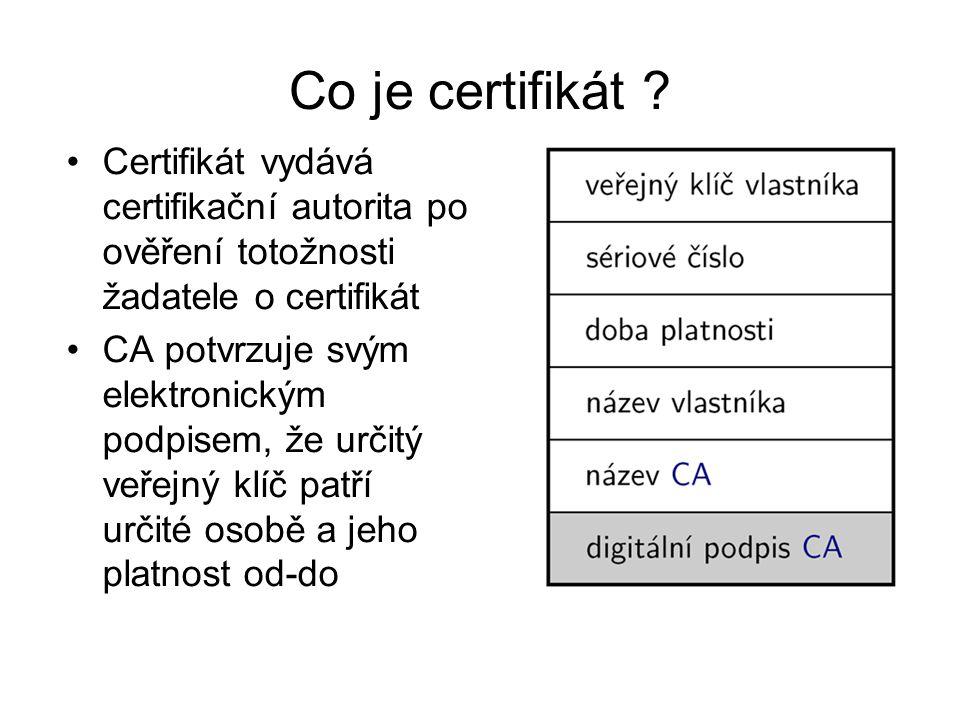 Co je certifikát ? Certifikát vydává certifikační autorita po ověření totožnosti žadatele o certifikát CA potvrzuje svým elektronickým podpisem, že ur