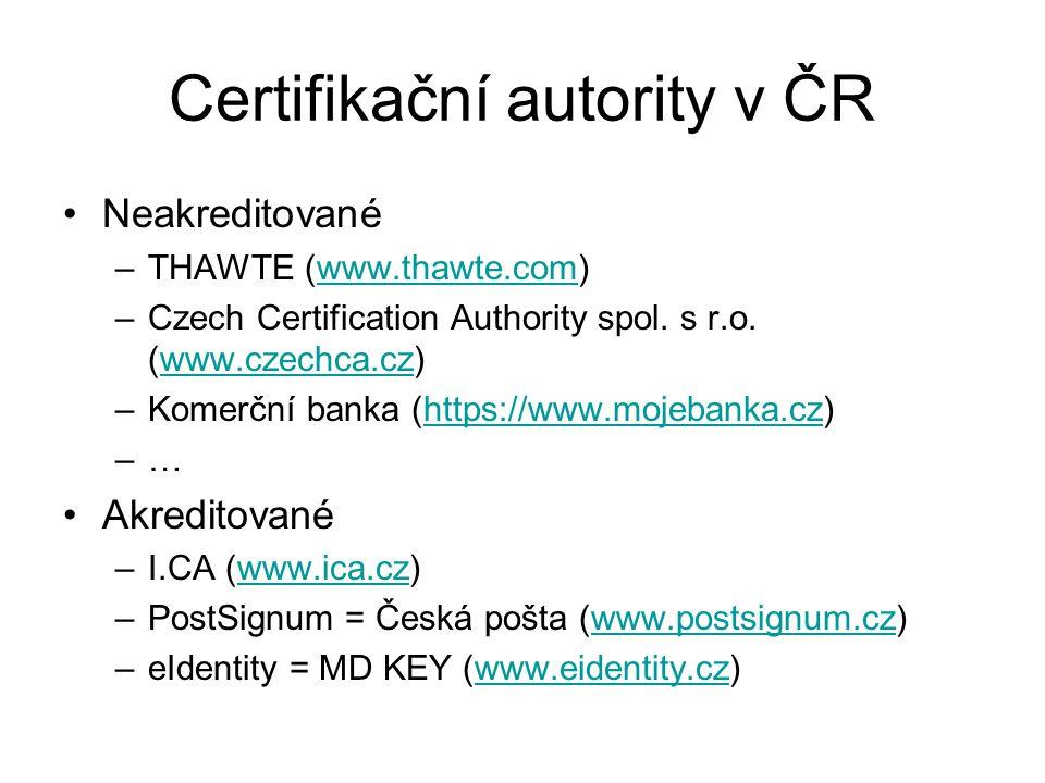 Certifikační autority v ČR Neakreditované –THAWTE (www.thawte.com)www.thawte.com –Czech Certification Authority spol. s r.o. (www.czechca.cz)www.czech