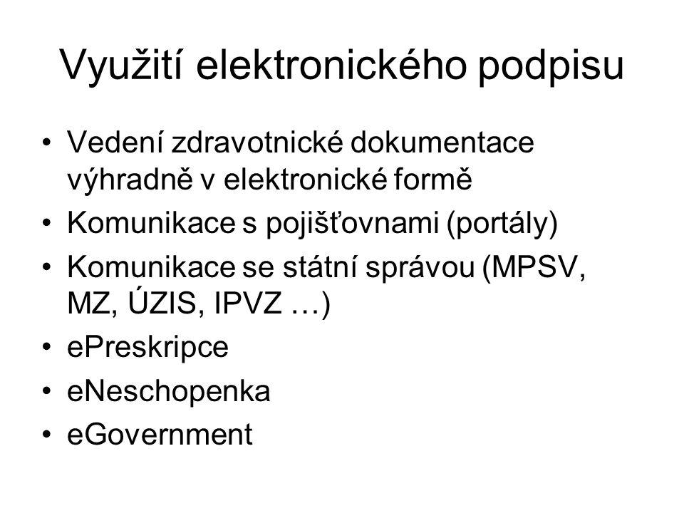 Využití elektronického podpisu Vedení zdravotnické dokumentace výhradně v elektronické formě Komunikace s pojišťovnami (portály) Komunikace se státní
