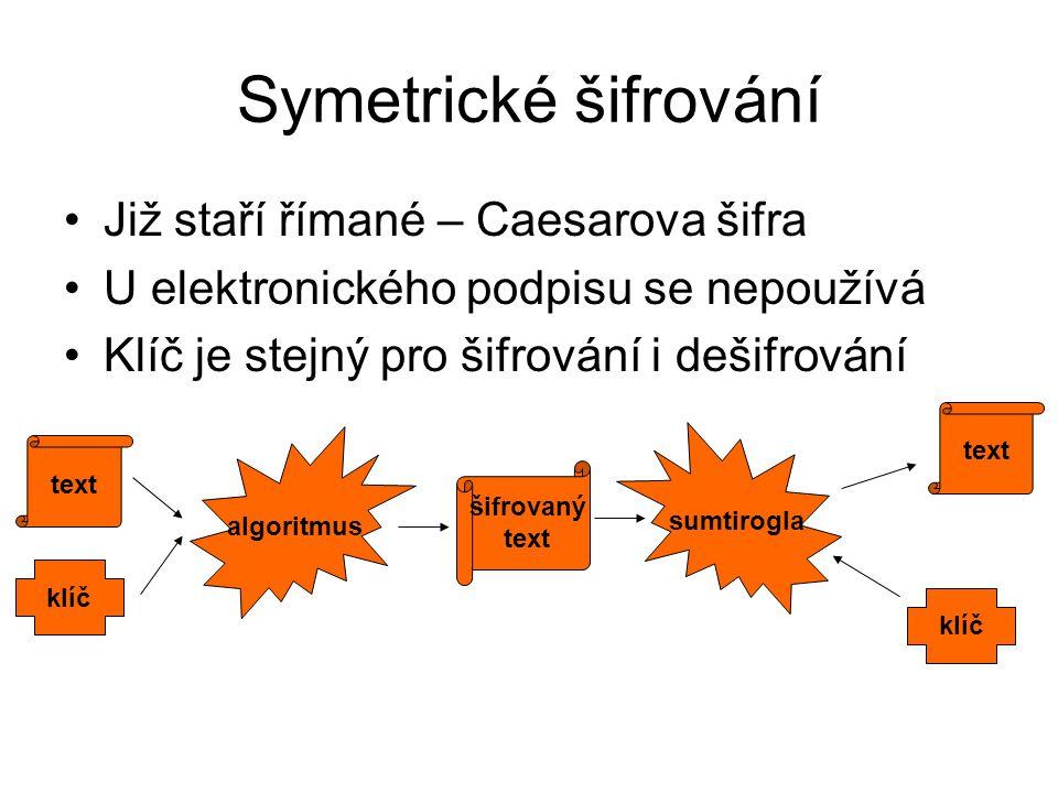 Symetrické šifrování Již staří římané – Caesarova šifra U elektronického podpisu se nepoužívá Klíč je stejný pro šifrování i dešifrování text klíč alg