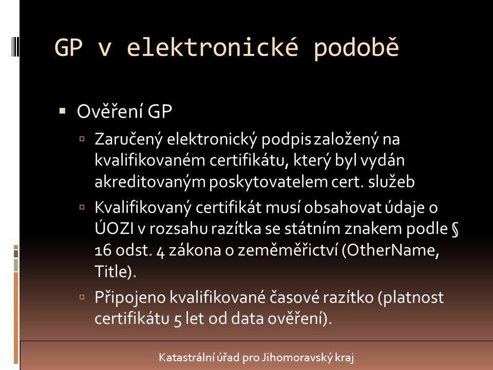 GP v elektronické podobě  Ověření GP  Zaručený elektronický podpis založený na kvalifikovaném certifikátu, který byl vydán akreditovaným poskytovatelem cert.