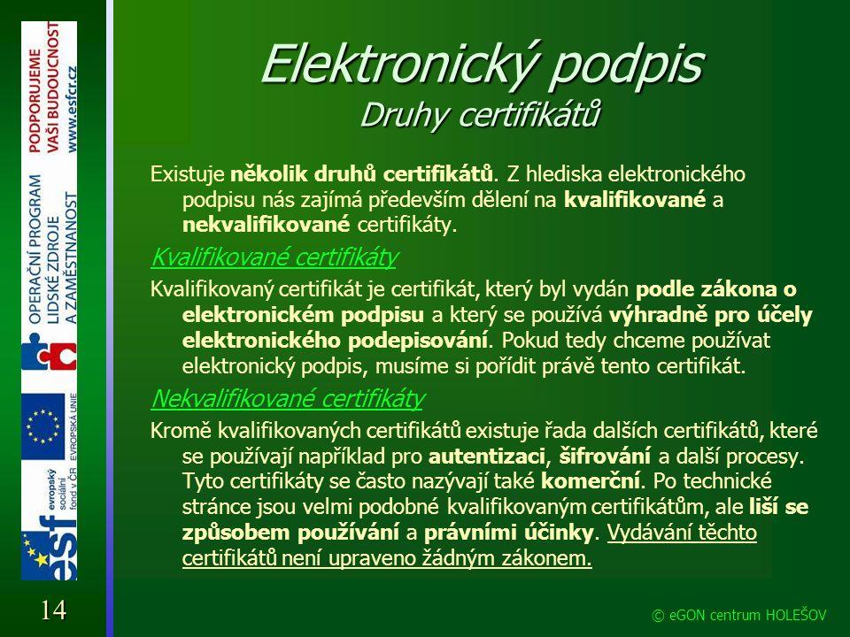 Elektronický podpis Druhy certifikátů Existuje několik druhů certifikátů. Z hlediska elektronického podpisu nás zajímá především dělení na kvalifikova