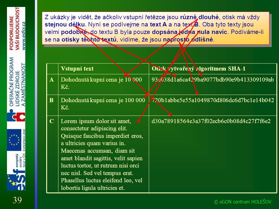 Elektronický podpis Jak funguje elektronický podpis 39 © eGON centrum HOLEŠOV d30a78918564e3a37f02ecb6c0b08d4c27f7f6e2Lorem ipsum dolor sit amet, cons