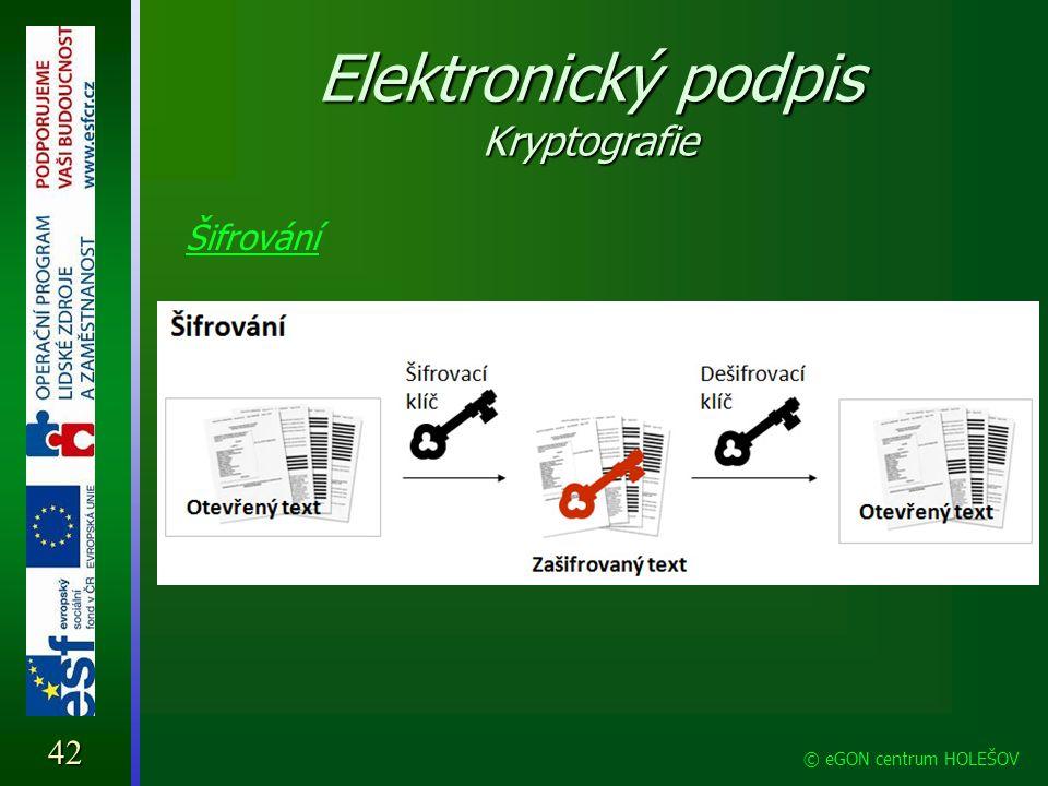 Elektronický podpis Kryptografie Šifrování 42 © eGON centrum HOLEŠOV