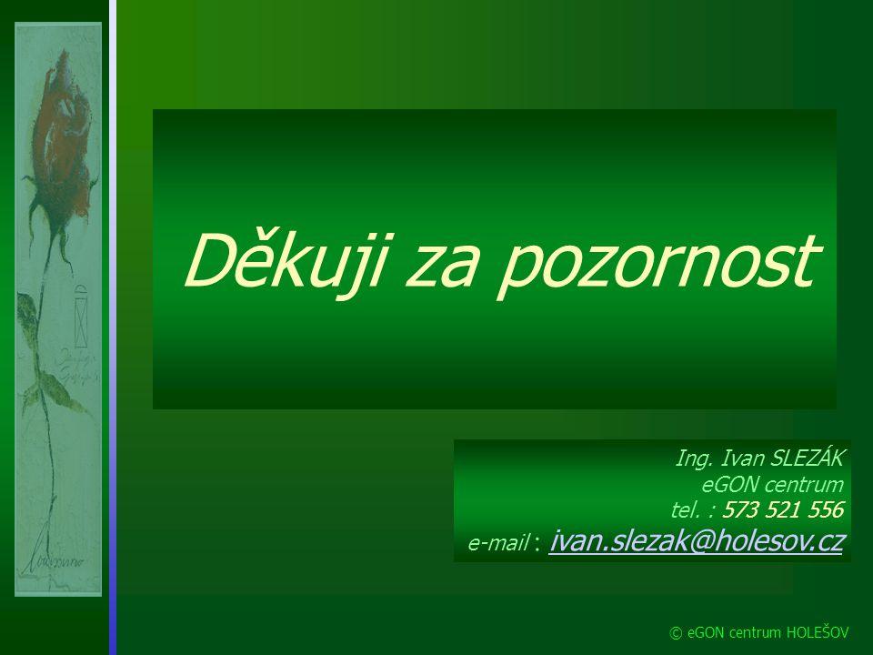 Děkuji za pozornost Ing. Ivan SLEZÁK eGON centrum tel. : 573 521 556 e-mail : ivan.slezak@holesov.cz