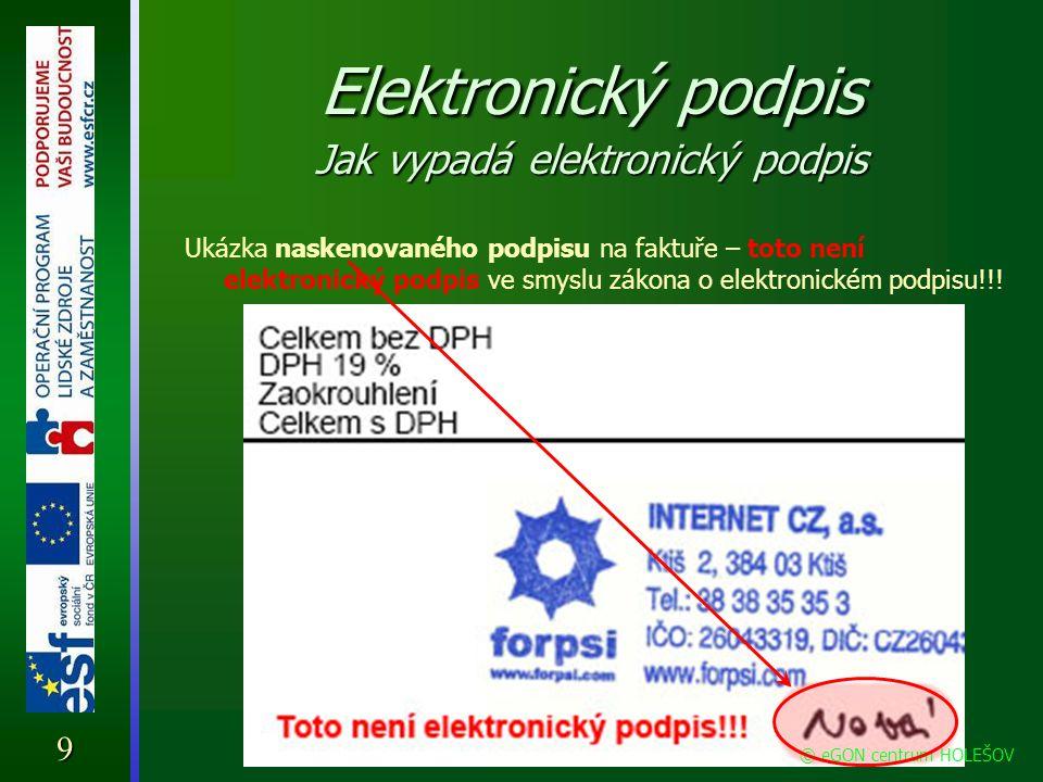 Elektronický podpis Jak lze elektronicky podepsat zprávu Pro to, aby se někdo mohl elektronicky podepisovat, musí nejprve získat tzv.