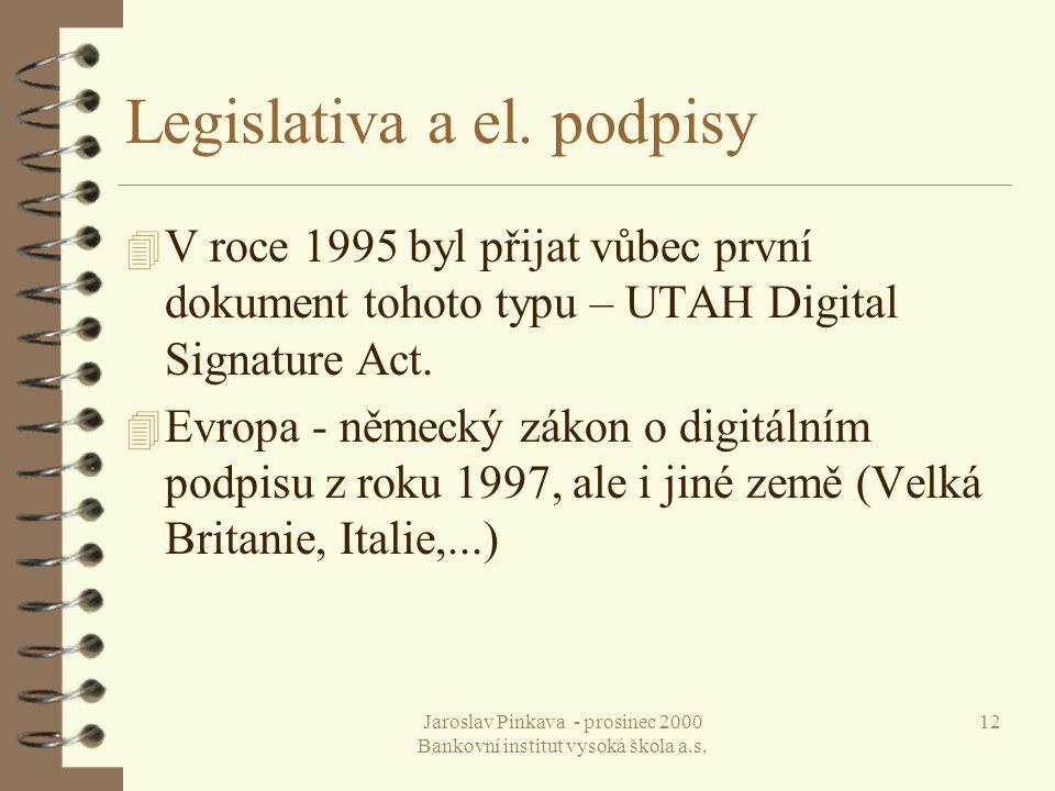 Jaroslav Pinkava - prosinec 2000 Bankovní institut vysoká škola a.s. 12 Legislativa a el. podpisy 4 V roce 1995 byl přijat vůbec první dokument tohoto