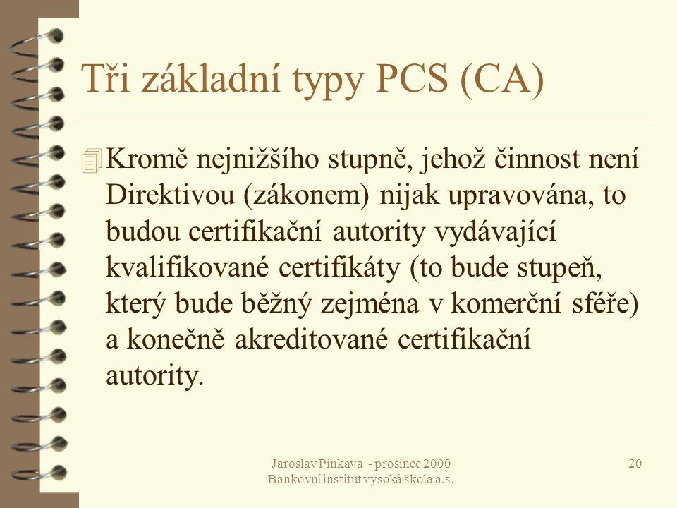 Jaroslav Pinkava - prosinec 2000 Bankovní institut vysoká škola a.s. 20 Tři základní typy PCS (CA) 4 Kromě nejnižšího stupně, jehož činnost není Direk