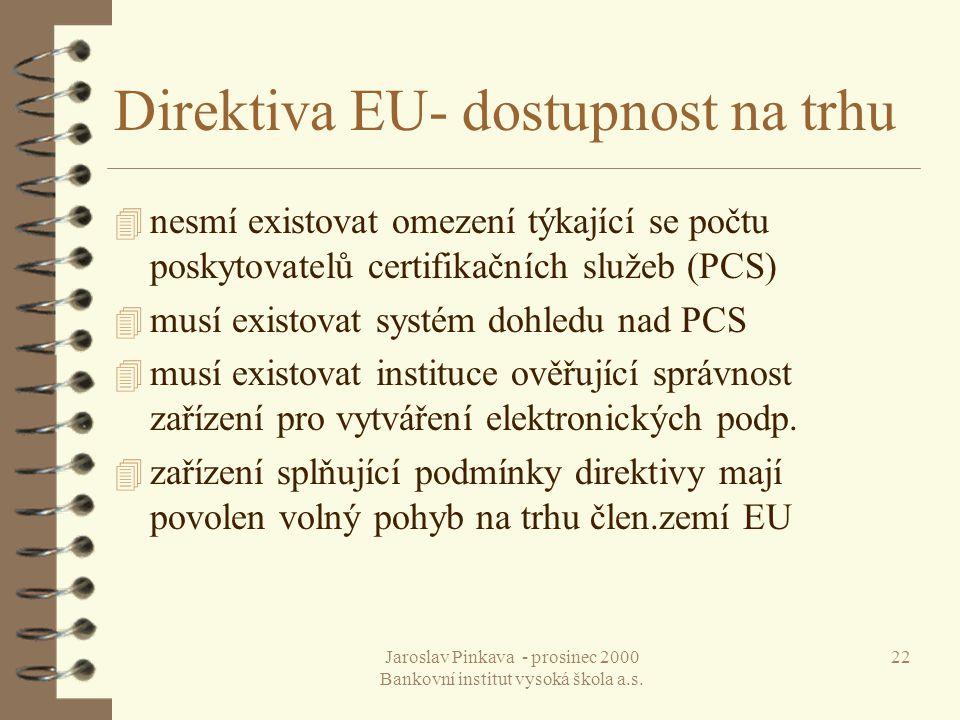 Jaroslav Pinkava - prosinec 2000 Bankovní institut vysoká škola a.s. 22 Direktiva EU- dostupnost na trhu 4 nesmí existovat omezení týkající se počtu p