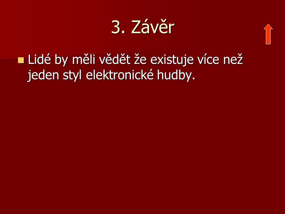 3. Závěr Lidé by měli vědět že existuje více než jeden styl elektronické hudby. Lidé by měli vědět že existuje více než jeden styl elektronické hudby.