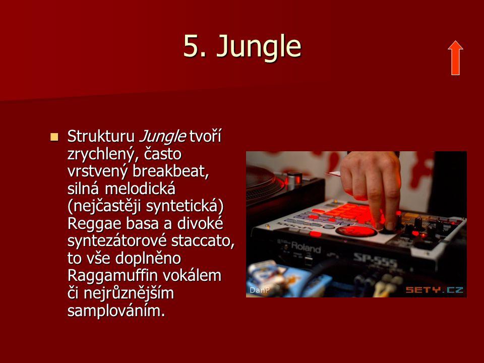 5. Jungle Strukturu Jungle tvoří zrychlený, často vrstvený breakbeat, silná melodická (nejčastěji syntetická) Reggae basa a divoké syntezátorové stacc