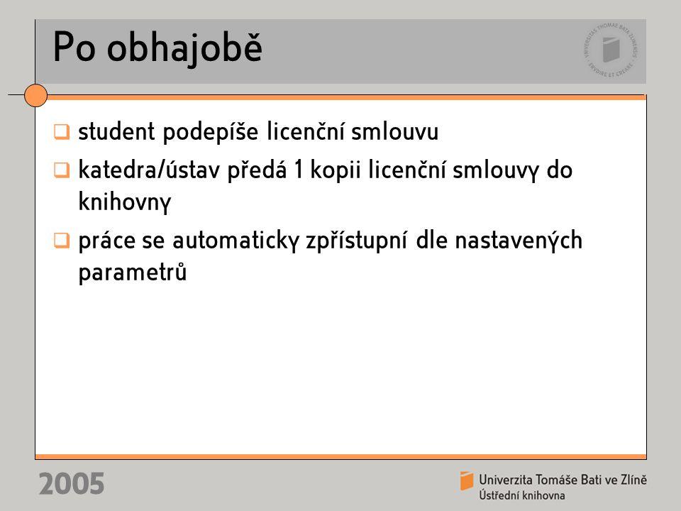 2005 Po obhajobě  student podepíše licenční smlouvu  katedra/ústav předá 1 kopii licenční smlouvy do knihovny  práce se automaticky zpřístupní dle nastavených parametrů