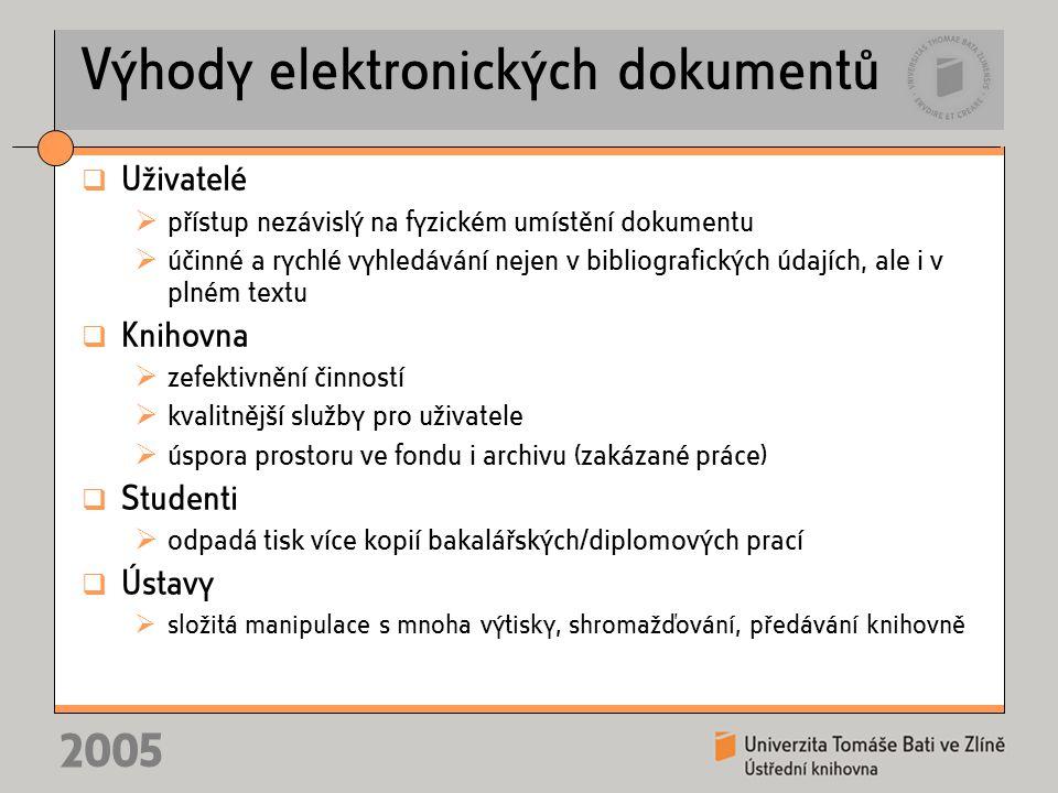 2005 Výhody elektronických dokumentů  Uživatelé  přístup nezávislý na fyzickém umístění dokumentu  účinné a rychlé vyhledávání nejen v bibliografic