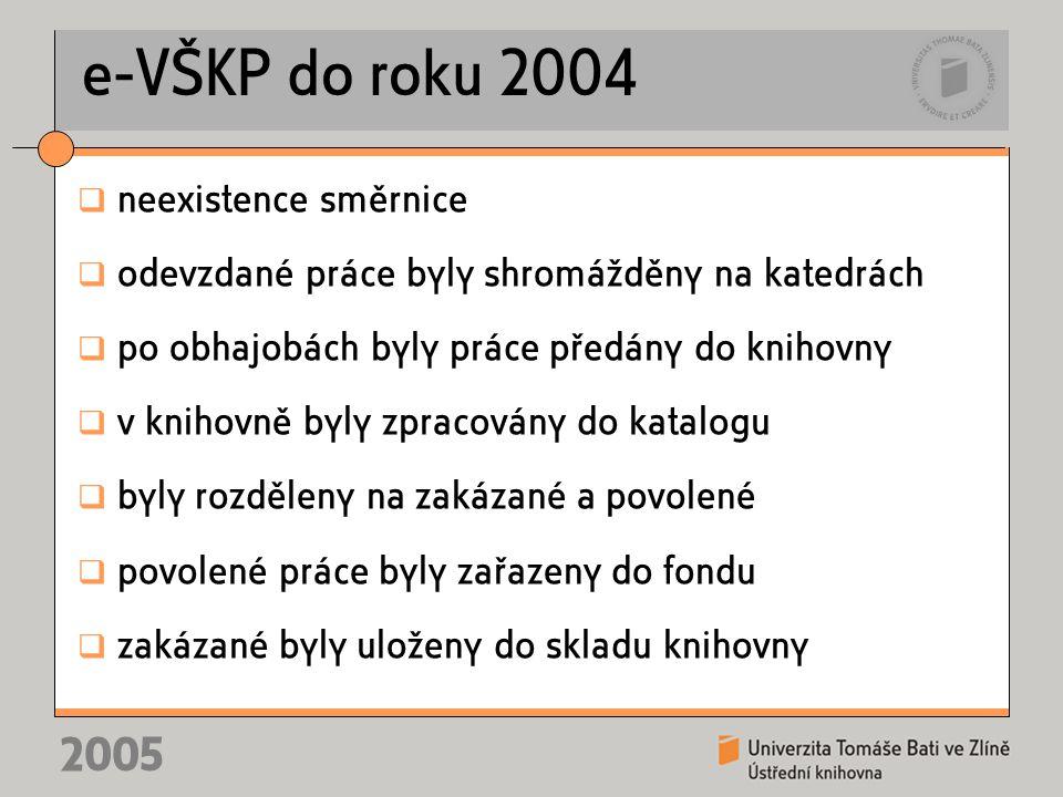 2005 e-VŠKP do roku 2004  neexistence směrnice  odevzdané práce byly shromážděny na katedrách  po obhajobách byly práce předány do knihovny  v knihovně byly zpracovány do katalogu  byly rozděleny na zakázané a povolené  povolené práce byly zařazeny do fondu  zakázané byly uloženy do skladu knihovny