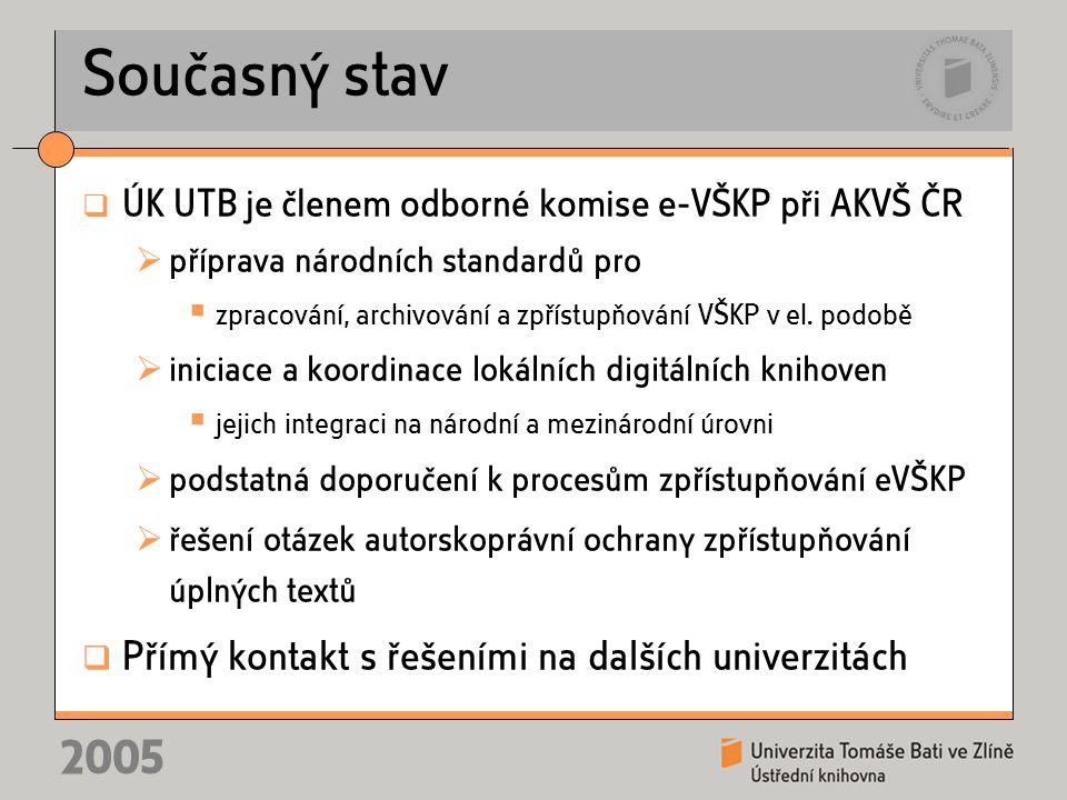 2005 Současný stav  ÚK UTB je členem odborné komise e-VŠKP při AKVŠ ČR  příprava národních standardů pro  zpracování, archivování a zpřístupňování