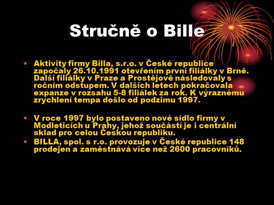 Stručně o Bille Aktivity firmy Billa, s.r.o. v České republice započaly 26.10.1991 otevřením první filiálky v Brně. Další filiálky v Praze a Prostějov