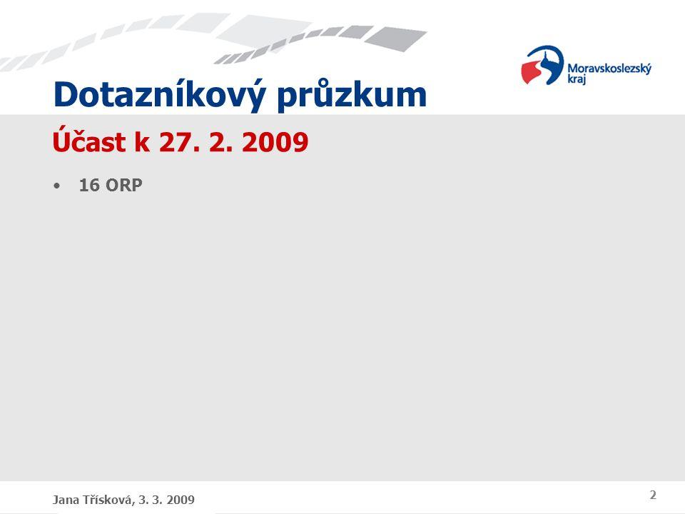Dotazníkový průzkum Jana Třísková, 3. 3. 2009 2 Účast k 27. 2. 2009 16 ORP