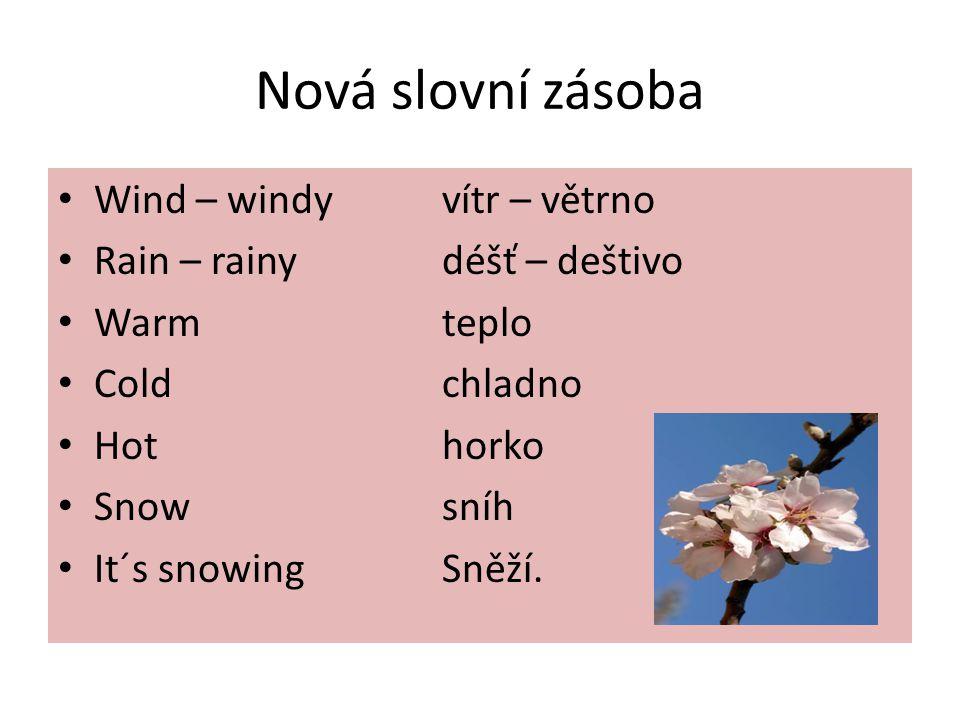 Nová slovní zásoba Wind – windyvítr – větrno Rain – rainydéšť – deštivo Warm teplo Coldchladno Hothorko Snowsníh It´s snowingSněží.