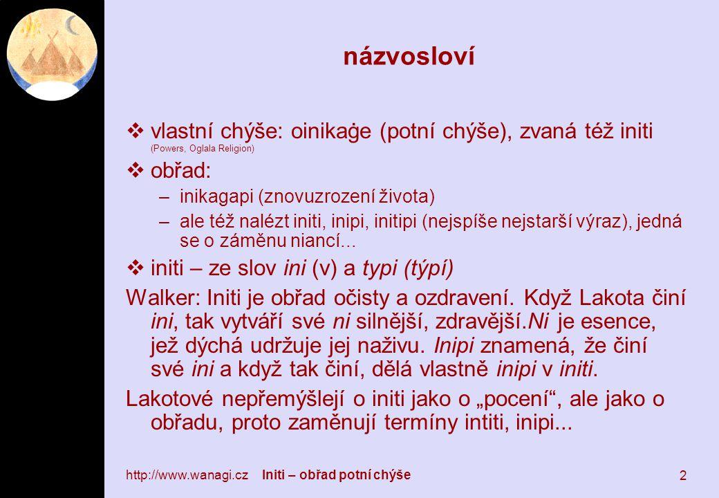 http://www.wanagi.cz Initi – obřad potní chýše 2 názvosloví  vlastní chýše: oinikaġe (potní chýše), zvaná též initi (Powers, Oglala Religion)  obřad: –inikagapi (znovuzrození života) –ale též nalézt initi, inipi, initipi (nejspíše nejstarší výraz), jedná se o záměnu niancí...
