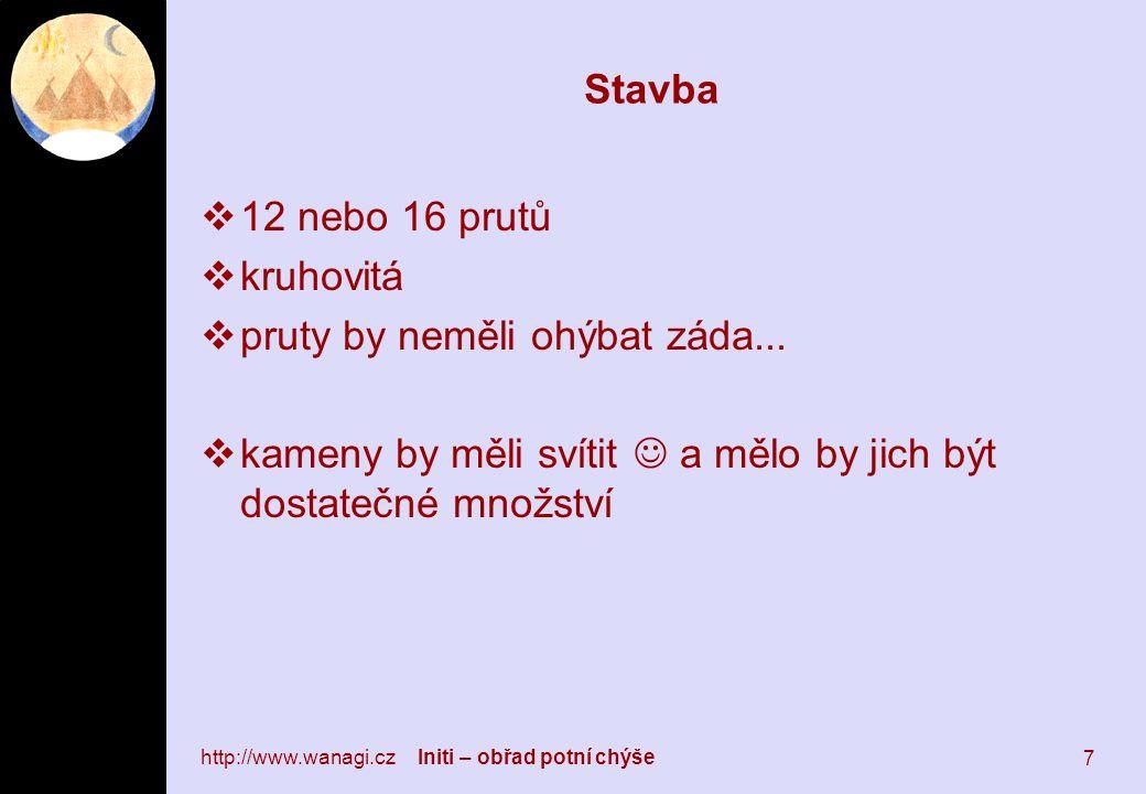 http://www.wanagi.cz Initi – obřad potní chýše 7 Stavba  12 nebo 16 prutů  kruhovitá  pruty by neměli ohýbat záda...