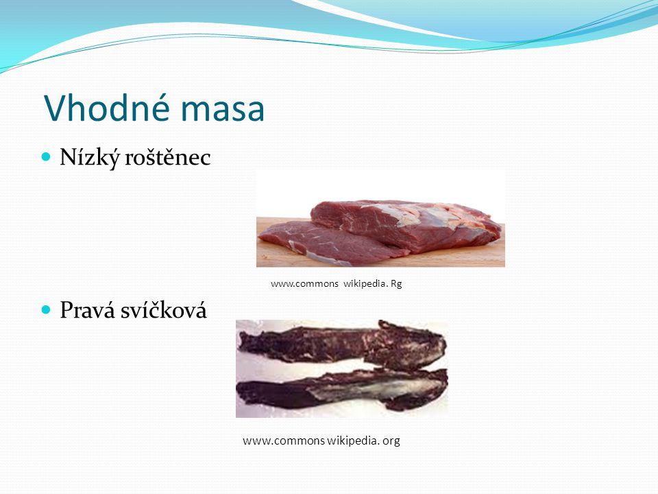 Vhodné masa Nízký roštěnec www.commons wikipedia. Rg Pravá svíčková www.commons wikipedia. org