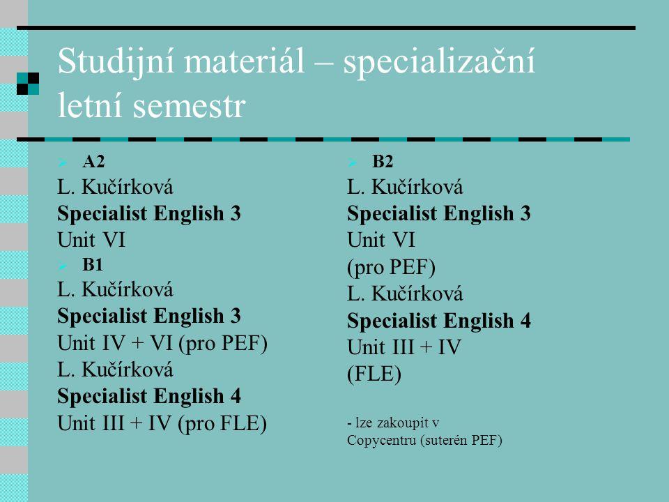 Studijní materiál – specializační letní semestr  A2 L. Kučírková Specialist English 3 Unit VI  B1 L. Kučírková Specialist English 3 Unit IV + VI (pr