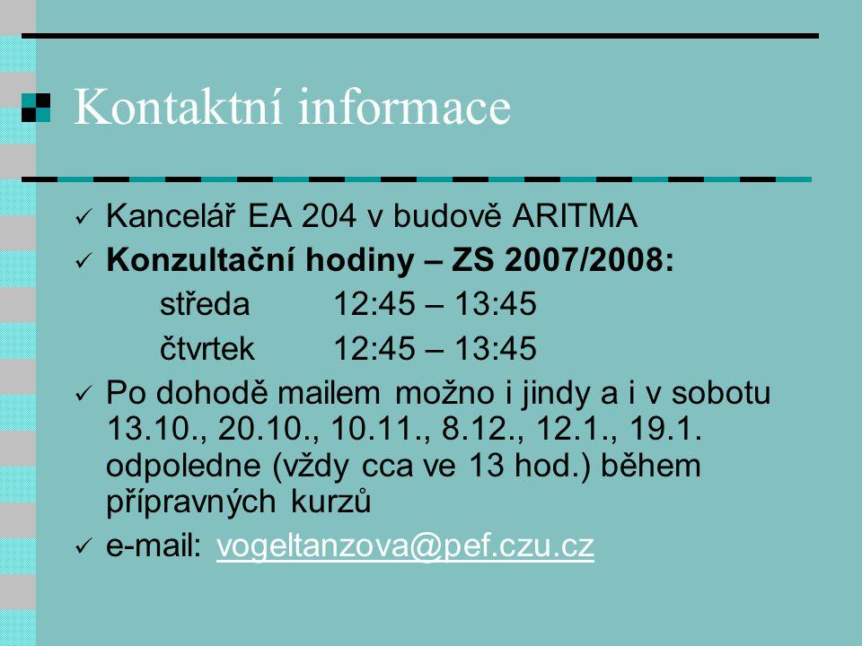 Kontaktní informace Kancelář EA 204 v budově ARITMA Konzultační hodiny – ZS 2007/2008: středa 12:45 – 13:45 čtvrtek 12:45 – 13:45 Po dohodě mailem možno i jindy a i v sobotu 13.10., 20.10., 10.11., 8.12., 12.1., 19.1.