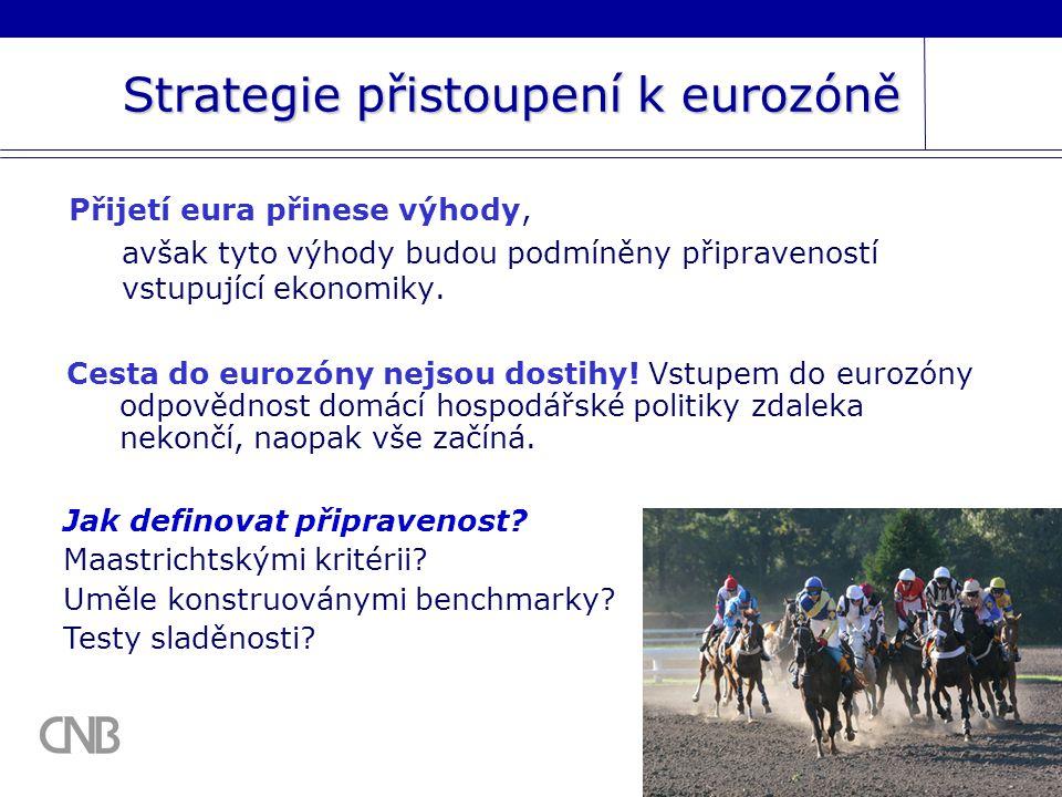 Strategie přistoupení k eurozóně Přijetí eura přinese výhody, avšak tyto výhody budou podmíněny připraveností vstupující ekonomiky.