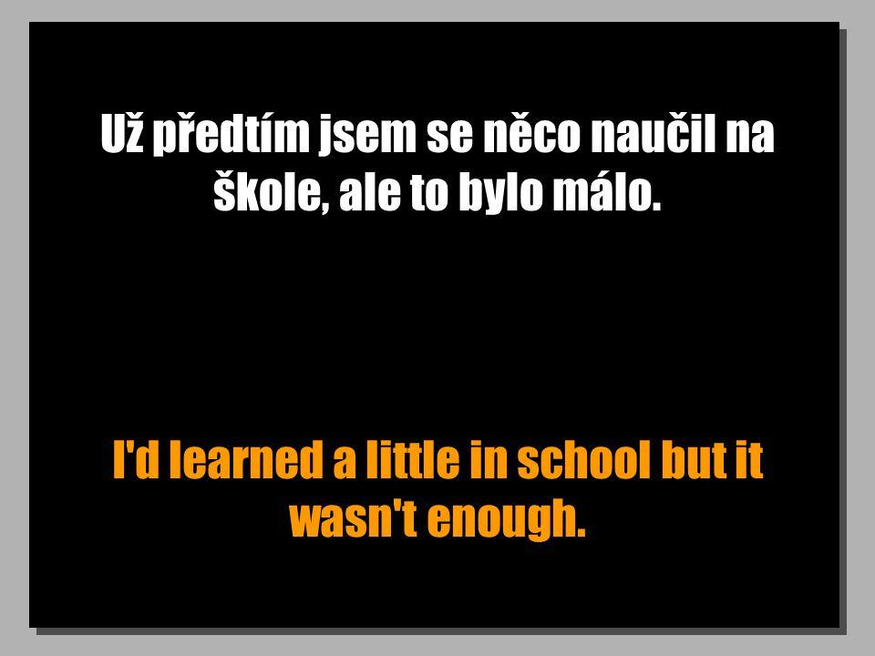 Už předtím jsem se něco naučil na škole, ale to bylo málo. I'd learned a little in school but it wasn't enough.