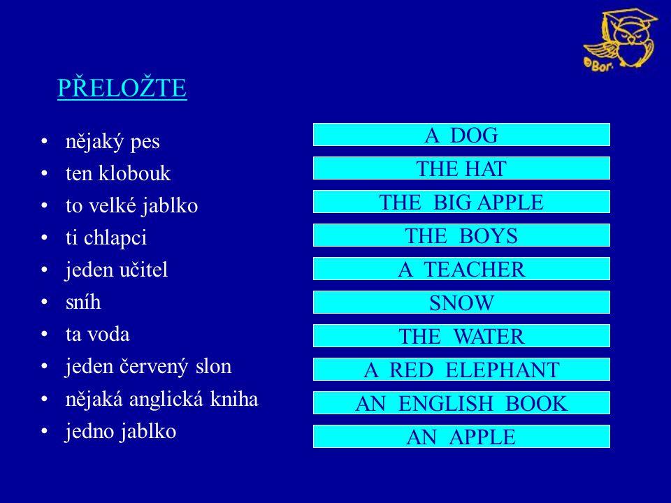 PŘELOŽTE nějaký pes ten klobouk to velké jablko ti chlapci jeden učitel sníh ta voda jeden červený slon nějaká anglická kniha jedno jablko A DOG THE H