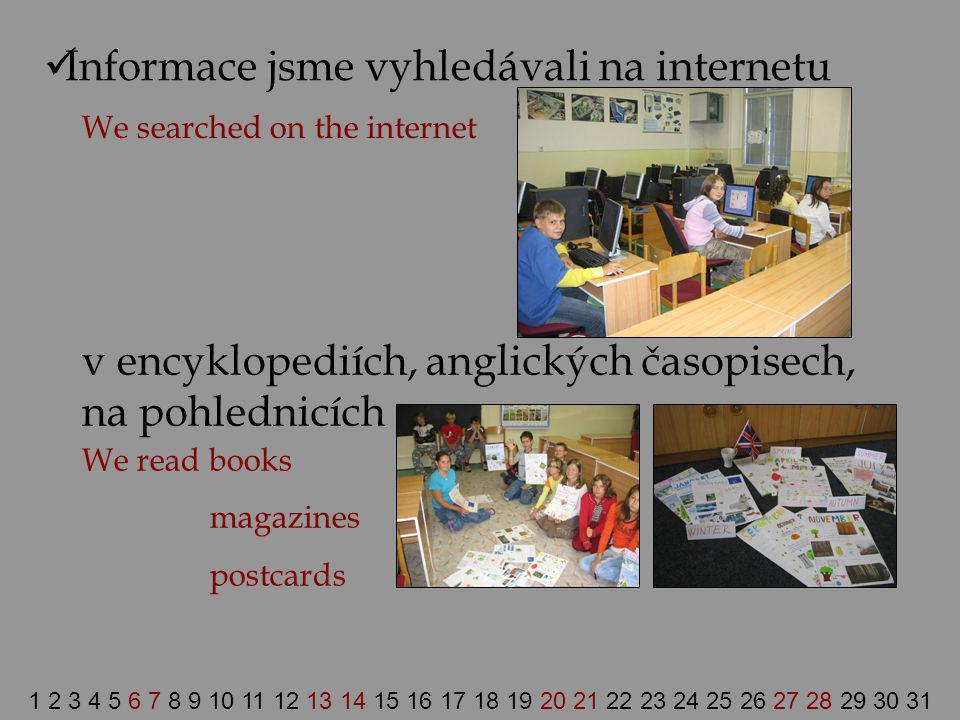 Informace jsme vyhledávali na internetu We searched on the internet v encyklopediích, anglických časopisech, na pohlednicích We read books magazines p
