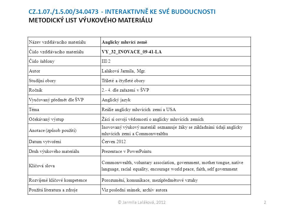 © Jarmila Laláková, 2012 Název vzdělávacího materiáluAnglicky mluvící země Číslo vzdělávacího materiáluVY_32_INOVACE_09-41-LA Číslo šablony III/2 Auto