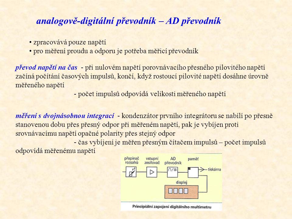 analogově-digitální převodník – AD převodník zpracovává pouze napětí pro měření proudu a odporu je potřeba měřicí převodník převod napětí na čas - při