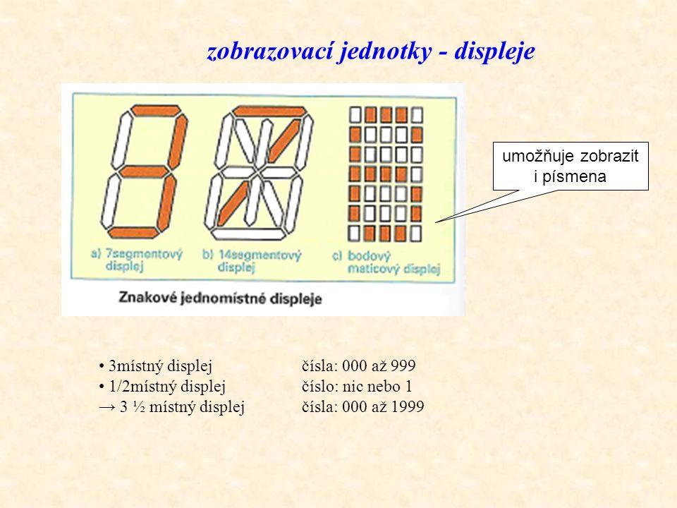 zobrazovací jednotky - displeje umožňuje zobrazit i písmena 3místný displejčísla: 000 až 999 1/2místný displejčíslo: nic nebo 1 → 3 ½ místný displejčí