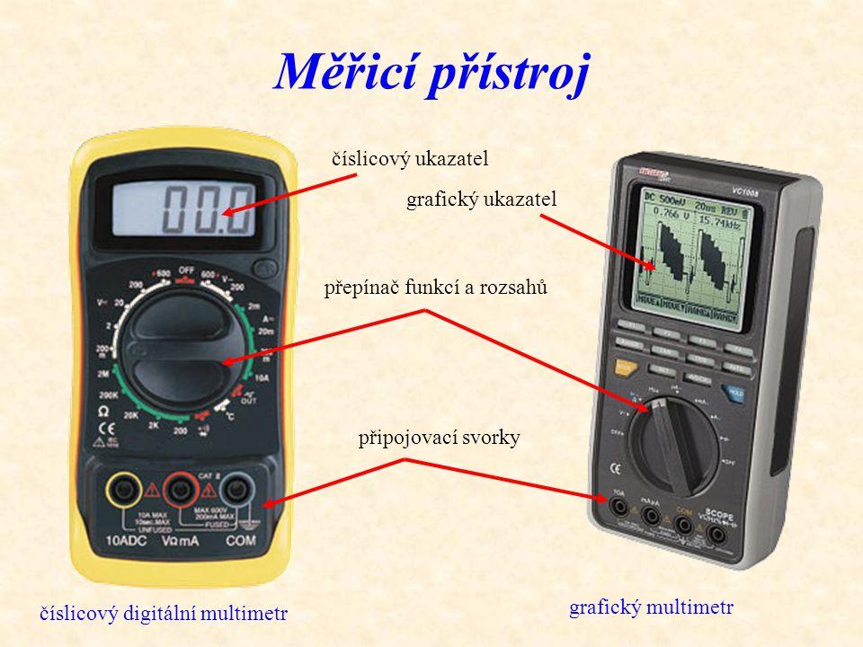 Měřicí přístroj číslicový digitální multimetr číslicový ukazatel přepínač funkcí a rozsahů připojovací svorky grafický ukazatel grafický multimetr