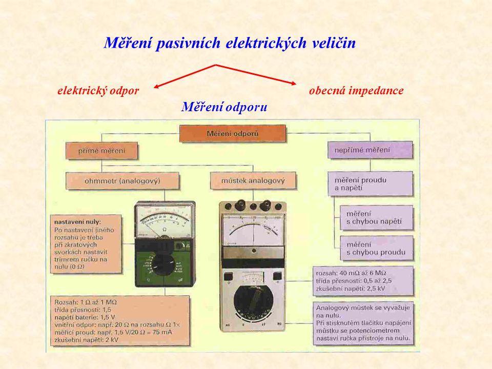 Měření pasivních elektrických veličin elektrický odporobecná impedance Měření odporu