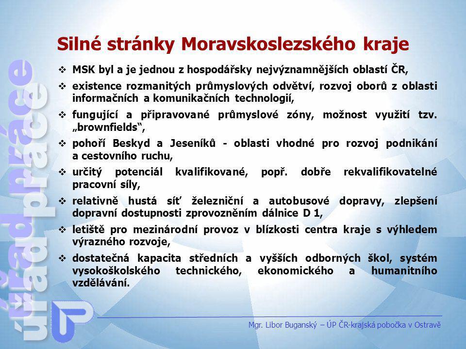 Silné stránky Moravskoslezského kraje Mgr. Libor Buganský – ÚP ČR-krajská pobočka v Ostravě  MSK byl a je jednou z hospodářsky nejvýznamnějších oblas