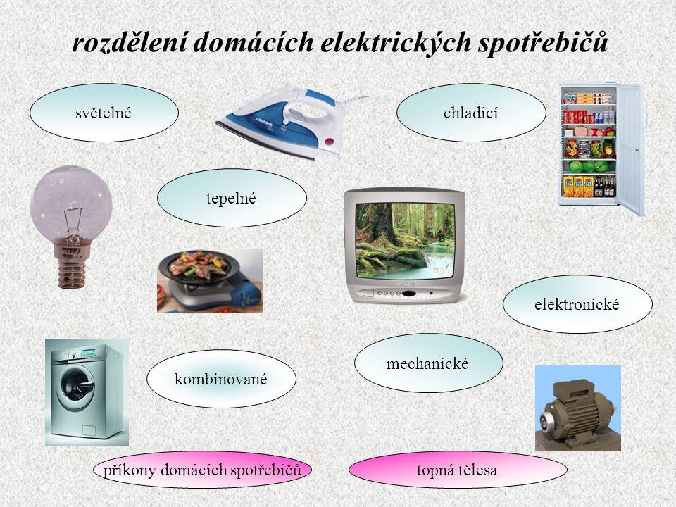 rozdělení domácích elektrických spotřebičů tepelné světelnéchladicí mechanické kombinované elektronické příkony domácích spotřebičůtopná tělesa