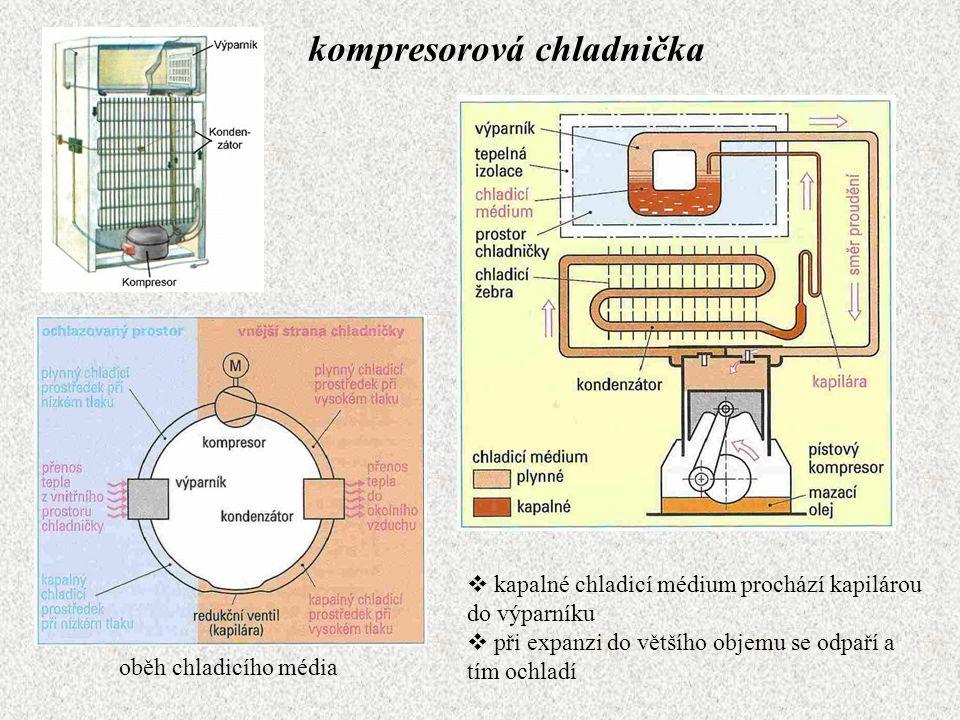 kompresorová chladnička  kapalné chladicí médium prochází kapilárou do výparníku  při expanzi do většího objemu se odpaří a tím ochladí oběh chladic