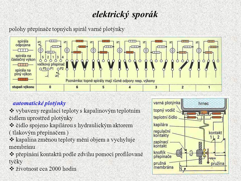 elektrický sporák polohy přepínače topných spirál varné plotýnky automatické plotýnky  vybaveny regulací teploty s kapalinovým teplotním čidlem upros