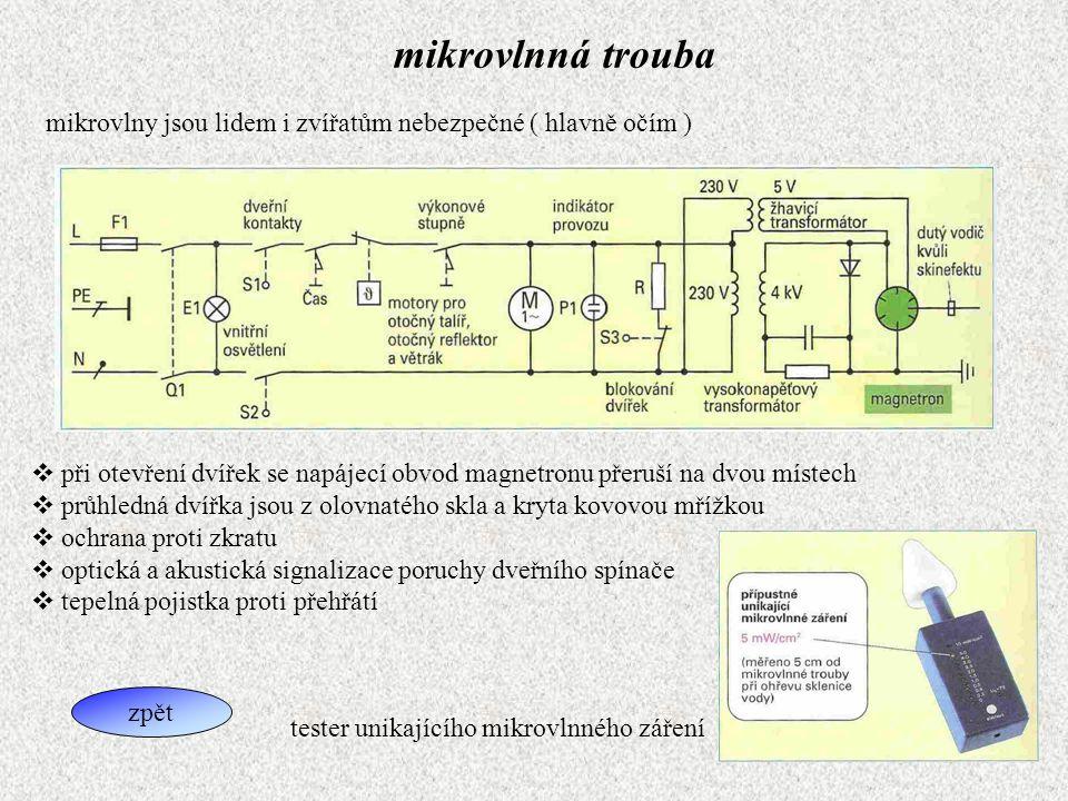 mikrovlnná trouba mikrovlny jsou lidem i zvířatům nebezpečné ( hlavně očím )  při otevření dvířek se napájecí obvod magnetronu přeruší na dvou místec