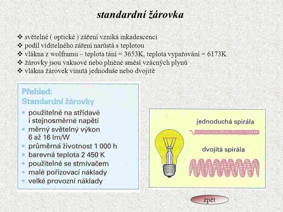 standardní žárovka  světelné ( optické ) záření vzniká inkadescencí  podíl viditelného záření narůstá s teplotou  vlákna z wolframu – teplota tání