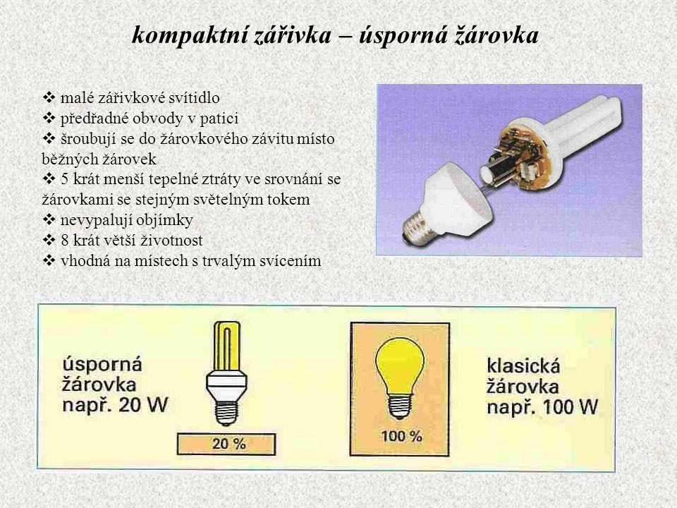 kompaktní zářivka – úsporná žárovka  malé zářivkové svítidlo  předřadné obvody v patici  šroubují se do žárovkového závitu místo běžných žárovek 