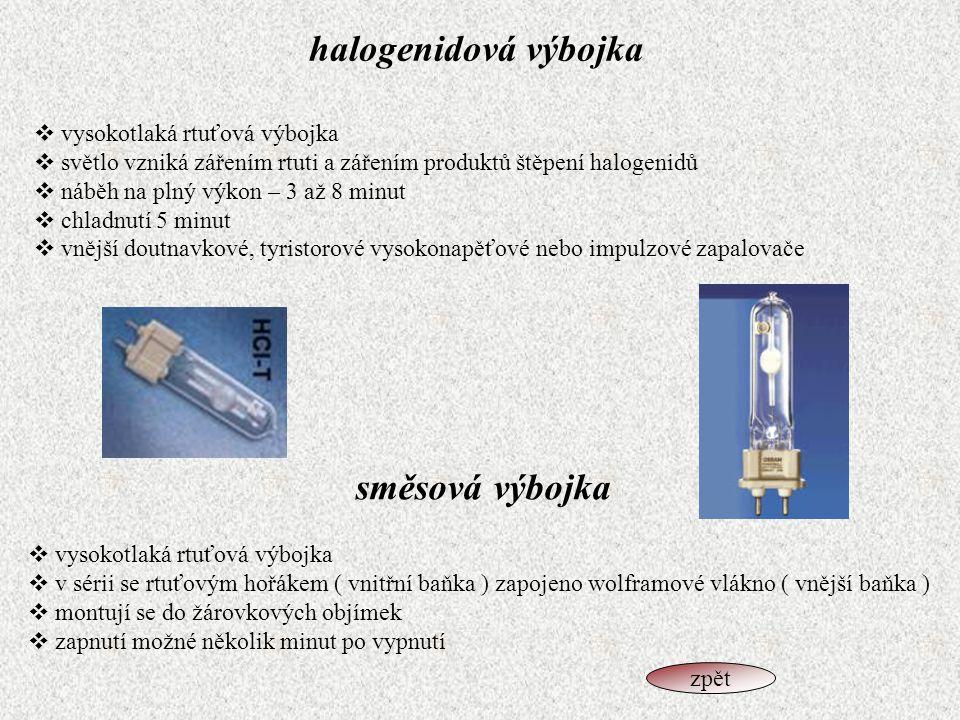 halogenidová výbojka  vysokotlaká rtuťová výbojka  světlo vzniká zářením rtuti a zářením produktů štěpení halogenidů  náběh na plný výkon – 3 až 8