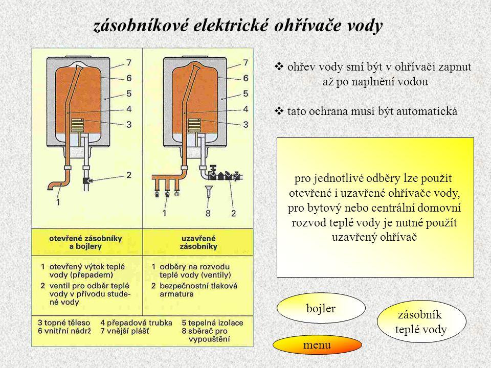 bojler  otevřený ohřívač vody  nemá tepelnou izolaci  ruční zapínání  jednorázový ohřev, po dosažení nastavené teploty se vypíná  slouží k ohřevu vody bezprostředně před jejím použitím zpět